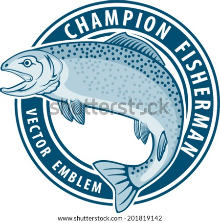 vector fishing emblem label