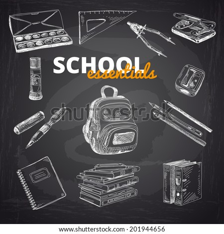 vector set of school items on a