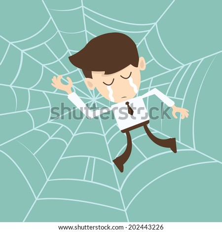 businessman trapped in spider
