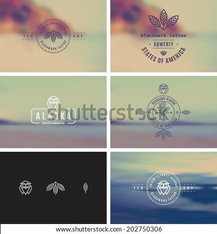 trendy retro vintage insignias