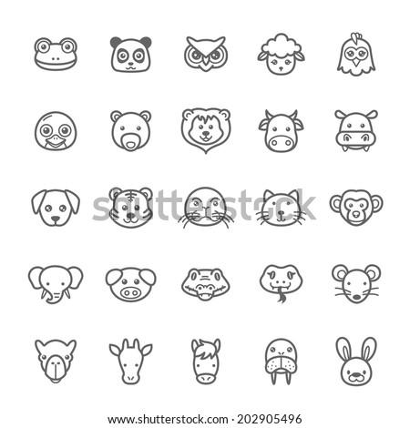 set of outline stroke animal