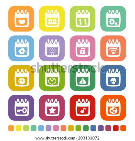 vector file of calendar icon set