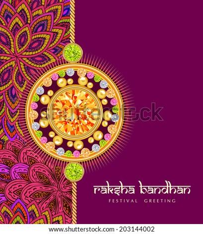 rakhi with gems on shiny red