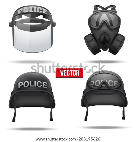 set of police helmets and mask