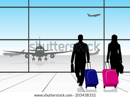 silhouette people in an airport