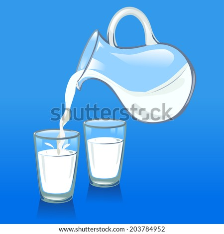 pouring milk from a jug into