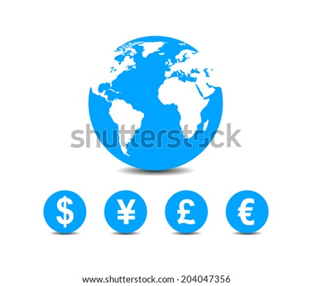 world currencies icons under