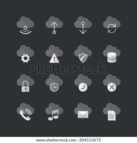 cloud computer icons set