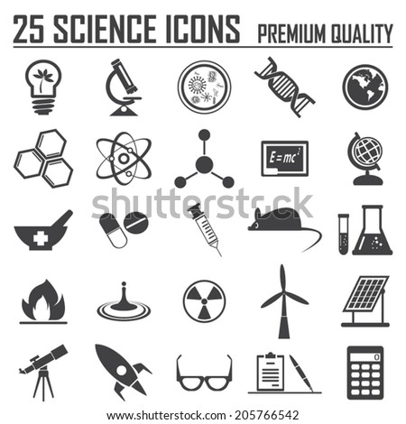 25 science icons set  premium