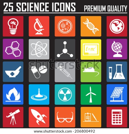 25 science metro icons set