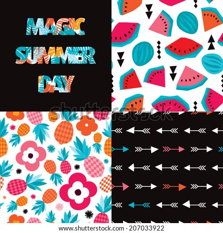 seamless exotic summer pattern