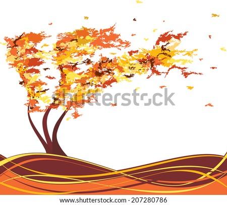 autumn grunge tree in the wind