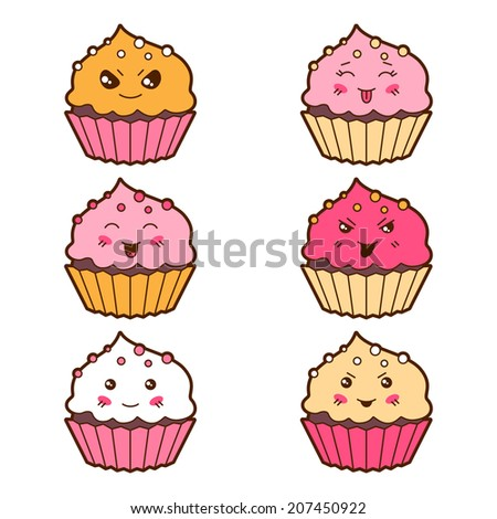 set of kawaii cupcakess with
