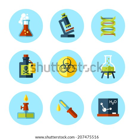 vector chemistry icon set in