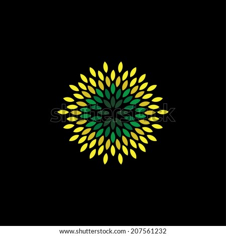 flower style vector of green