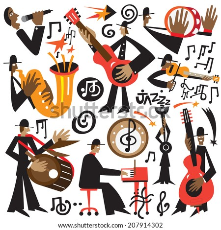 jazz musicians   vector cartoons