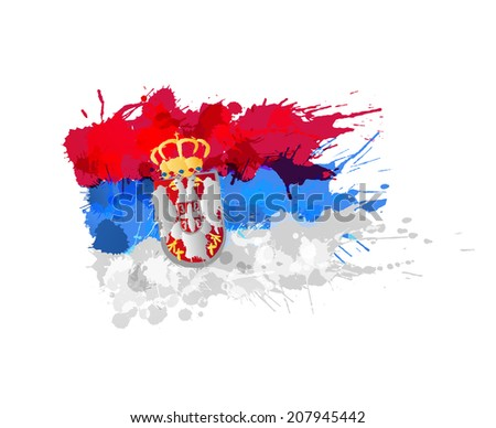 flag of  serbia made of
