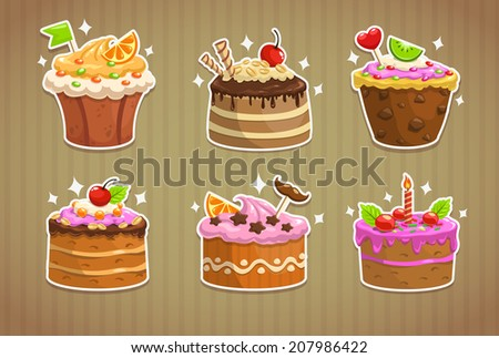 sweet cake stickers  vector