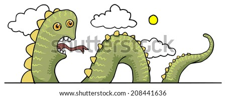 funny sea snake  dragon  vector