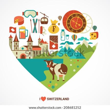 switzerland love   heart with