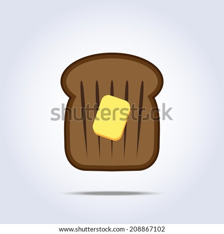 black bread toast icon with