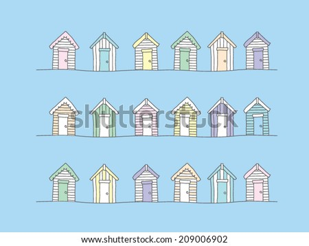 beach huts   hand drawn