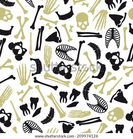 human bones symbols seamless