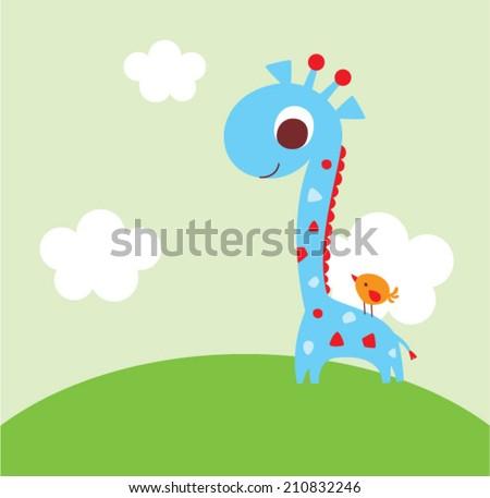 cute giraffe and bird