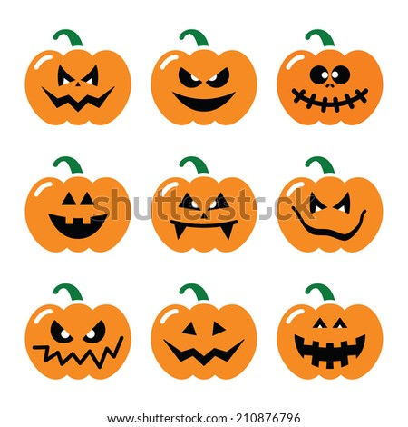 halloween pumpkin vector icons