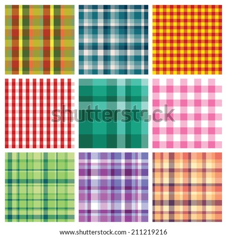 set of nice colorful checkered