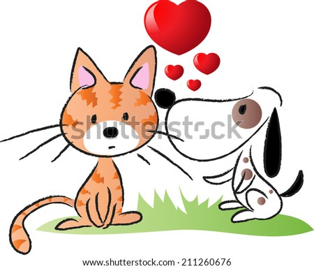 dog and cat fall in love