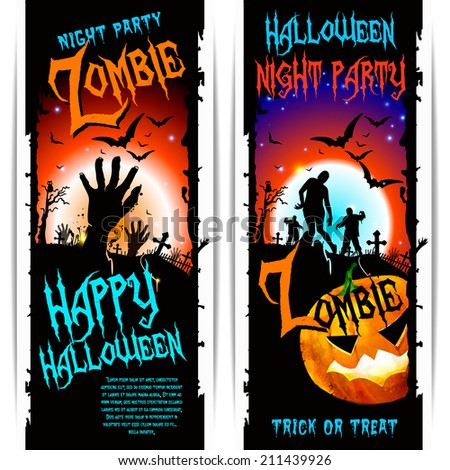 vector halloween zombie party