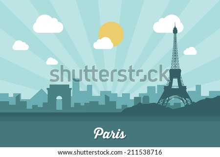 paris skyline   flat design