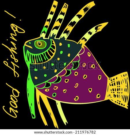 vector hand drawn exotic fish