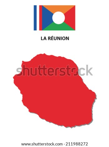 la reunion map with flag