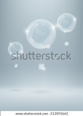 three shiny air baloons made of