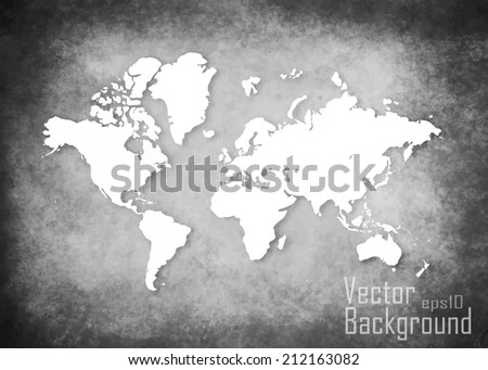 grunge map of the world   vector
