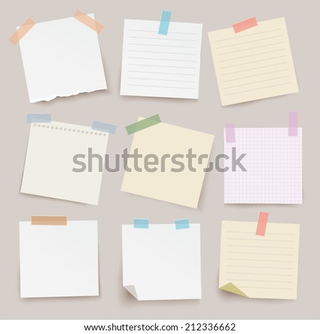 set of different vector note