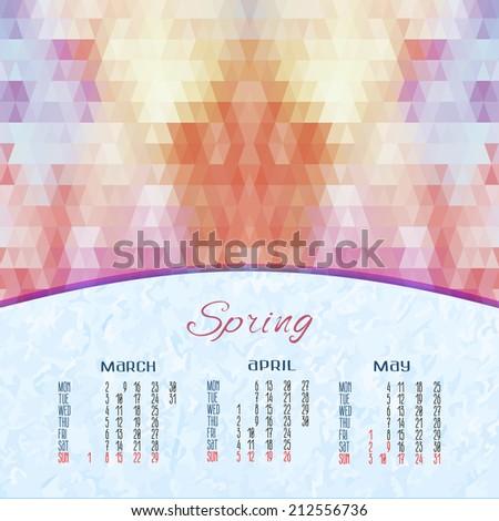 spring vector calendar for