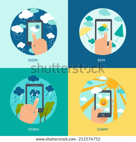 weather smart phone set snow