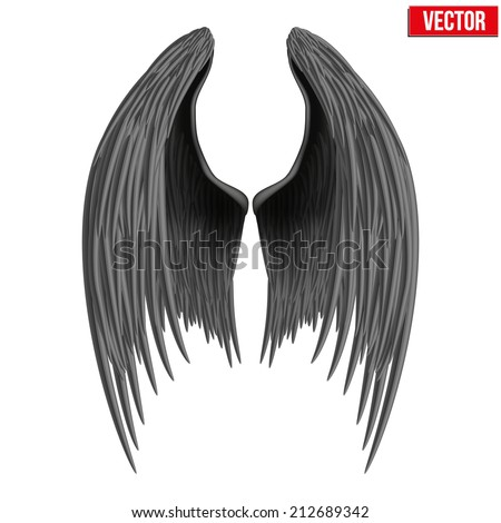 black folded angel wings