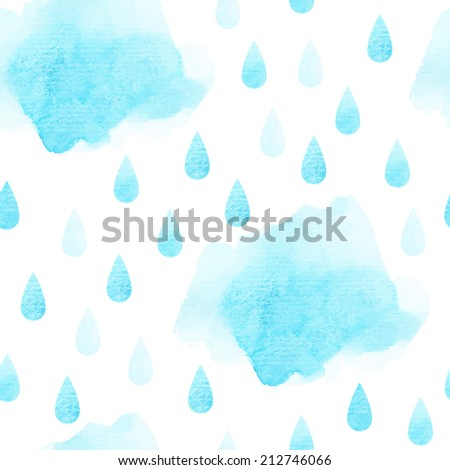 blue vector watercolor cloud