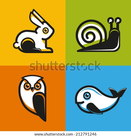 vector animal emblems and icons