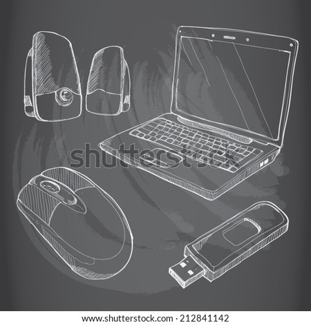 drawing vector set of computers