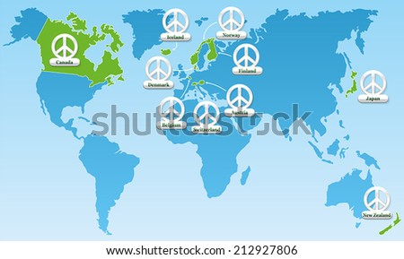 global peace world map  showing