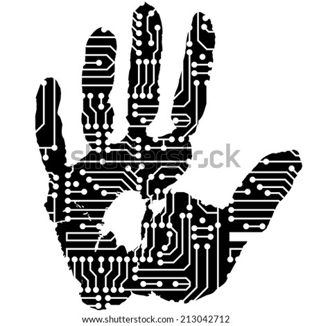 handprint with the electronic