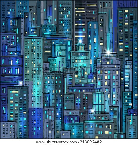cityscape at night hand drawn