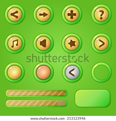 game design interface green set