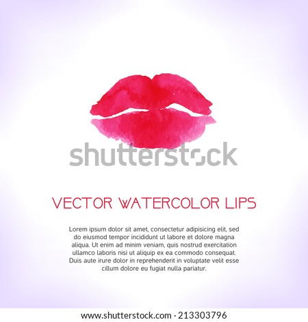 red watercolor lips vector