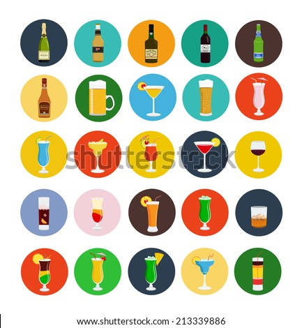 alcohol drinks icon set flat